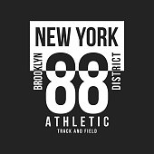 New York, Brooklyn typography for t-shirt print. Sports, athletic t-shirt graphics