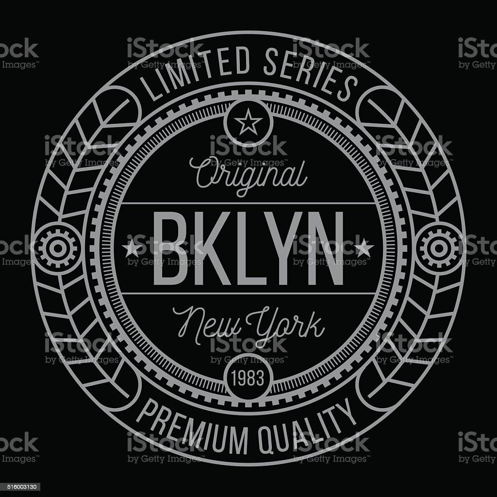 New York Brooklyn typography vector art illustration