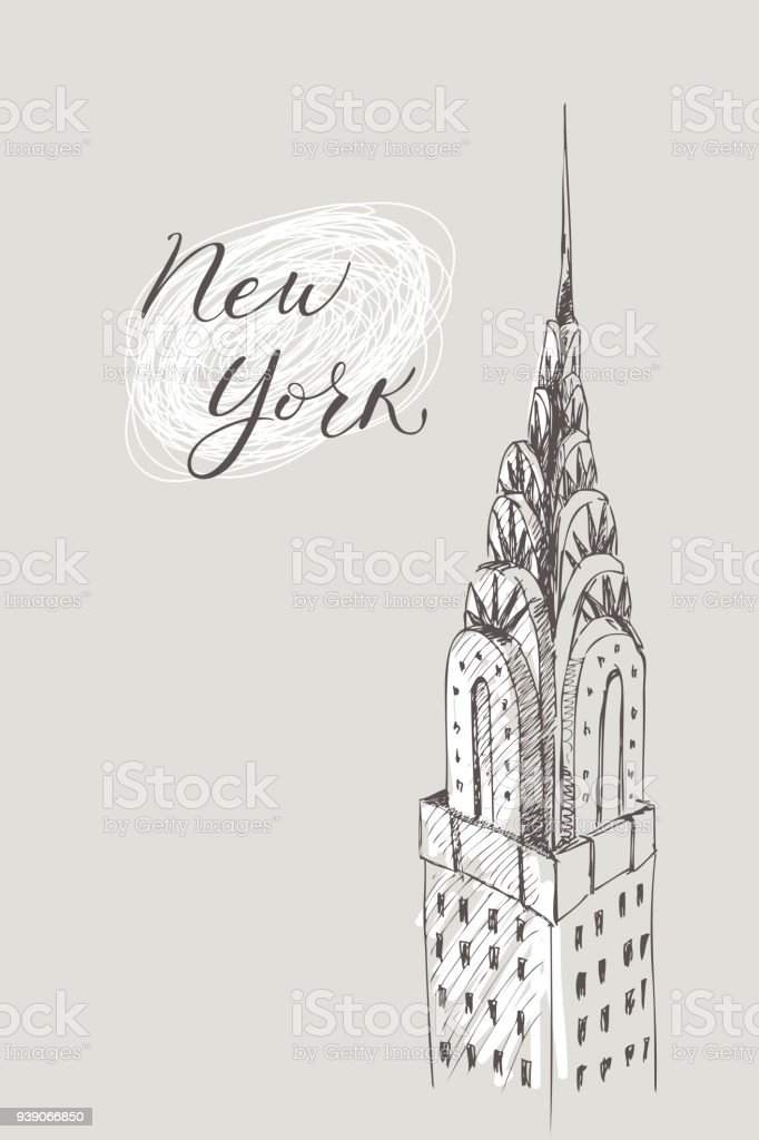 New York Building Doodle Set American Travel Symbols In Hand Drawn