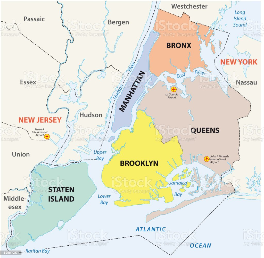 Map Of The Boroughs Of New York.New York City 5 Boroughs Map Stock Illustration Download