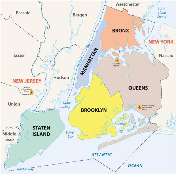 new york city, 5 boroughs map - new york map stock illustrations, clip art, cartoons, & icons