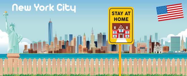 ニューヨーク市と在宅サイン - corona newyork点のイラスト素材/クリップアート素材/マンガ素材/アイコン素材