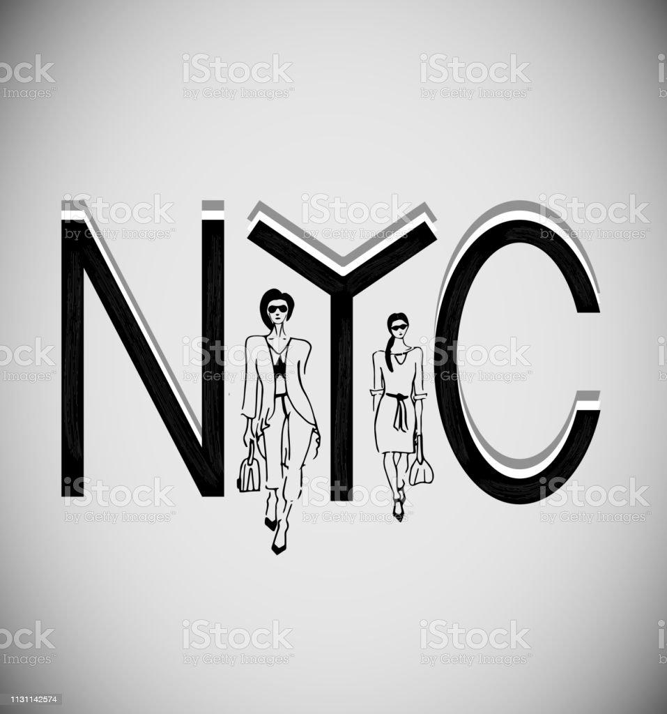 Nyc New York City Noir Et Blanc Avec Des Filles De Mode