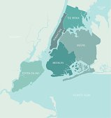 A detailed map of the five boroughs of New York City. Shoreline is highly detailed. Each borough is on a separate layer so colors can be easily changed. Text is hand-drawn.