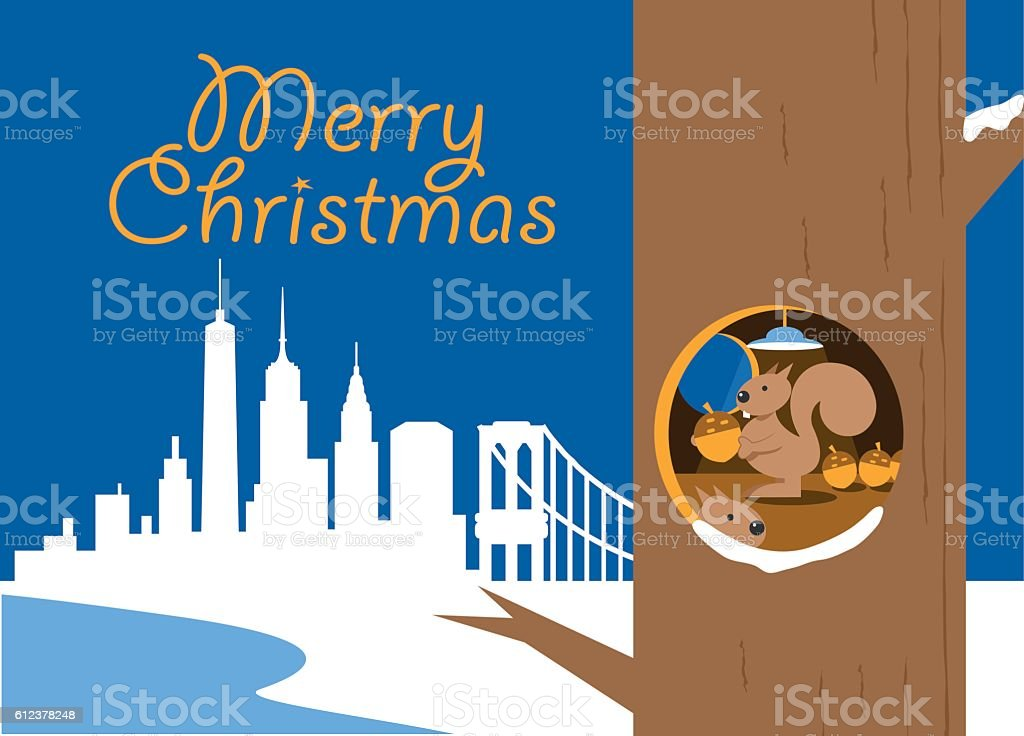 New York City Christmas Card Stock Vector Art & More Images of ...