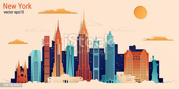 New York city colorful paper cut style, vector stock illustration. Cityscape with all famous buildings. Skyline New York city composition for design