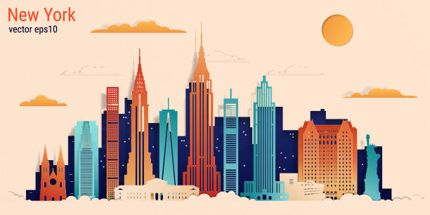ilustrações de stock, clip art, desenhos animados e ícones de new york city colorful paper cut style, vector stock illustration - skyline