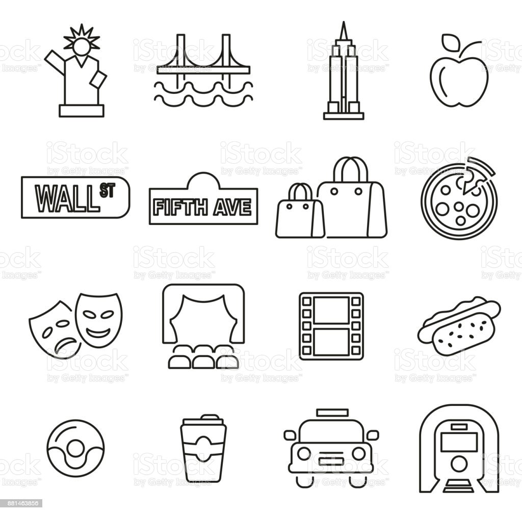 New York City & Culture Icons Thin Line Vector Illustration Set vector art illustration
