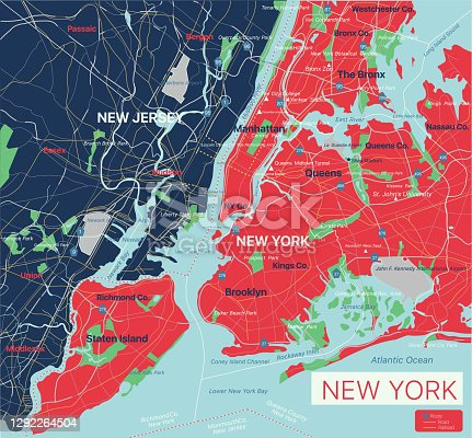 New York city detailed editable map with cities and towns, geographic sites, roads, railways, interstates and U.S. highways. Vector EPS-10 file, trending color scheme