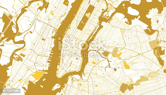 New York City Golden Map. Vector Illustration.