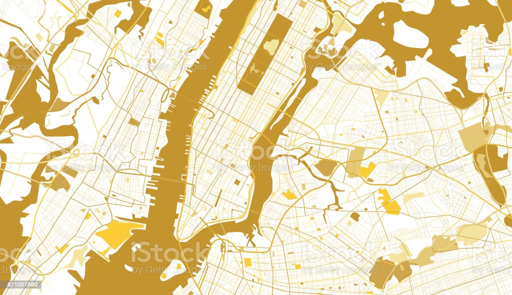 New York City Golden Map. vector art illustration
