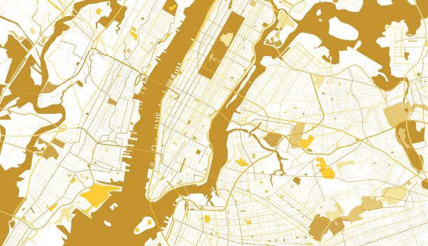 new york city golden map. - new york map stock illustrations, clip art, cartoons, & icons