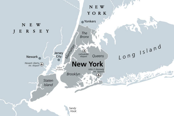 New York City, gray political map vector art illustration