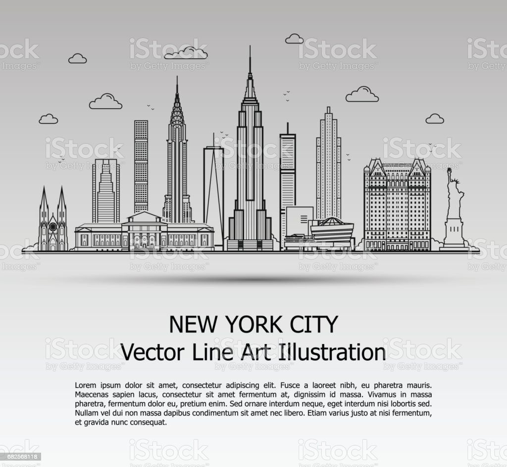 New York City Gray vector art illustration