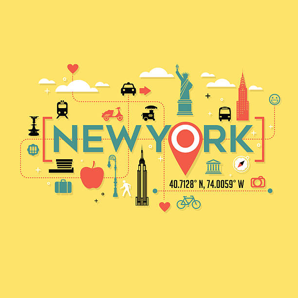 New York City icons and typography for cards, tshirts, postersnd – Vektorgrafik