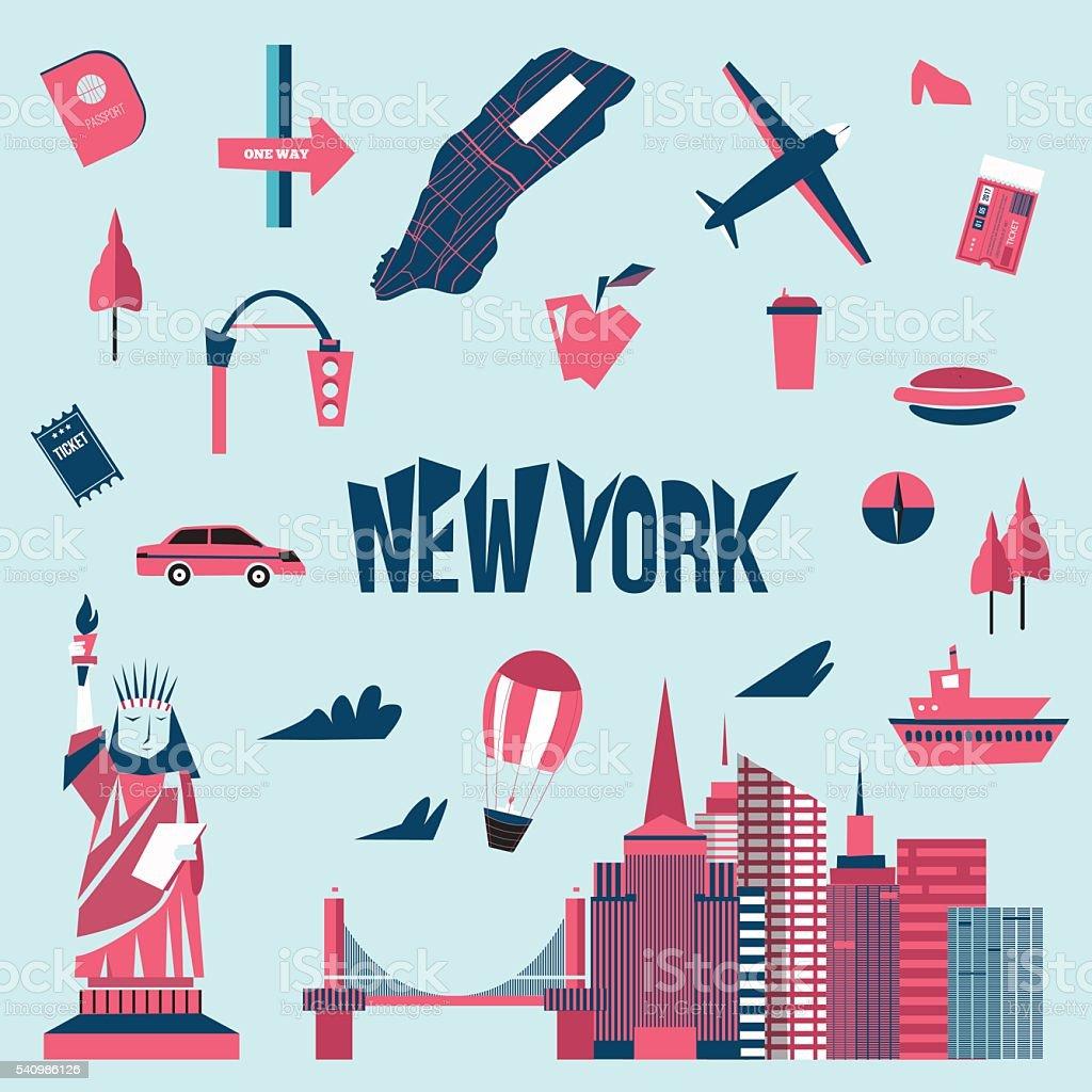 New York City Symbole Im Comicstil Freiheitsstatue Stock Vektor Art ...
