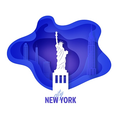 New York city landscape in paper cut style. Vector 3D NYC panorama