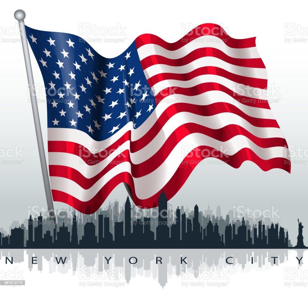new york city landscape vector art illustration