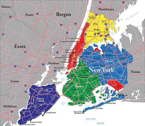 new york city map - new york map stock illustrations, clip art, cartoons, & icons