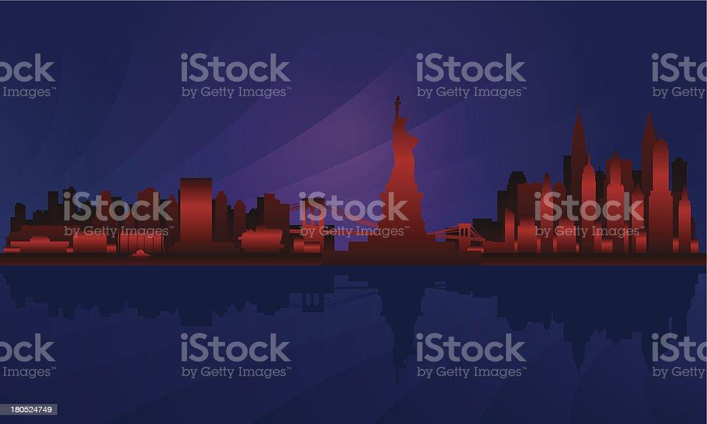 New York city Night skyline detailed silhouette royalty-free stock vector art