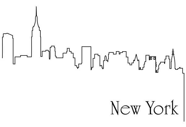 illustrations, cliparts, dessins animés et icônes de new york city un dessin au trait fond - new york