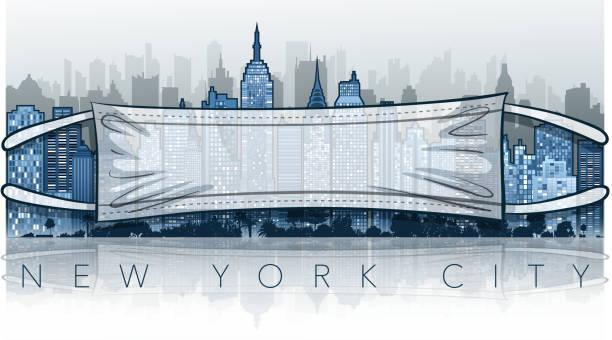 ニューヨーク市のパンデミック - corona newyork点のイラスト素材/クリップアート素材/マンガ素材/アイコン素材