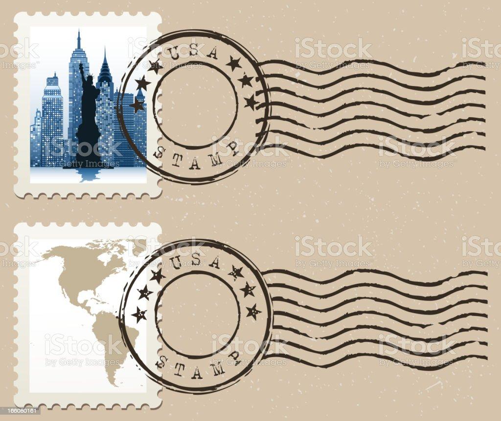 new york city postage stamp vector art illustration