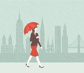 A retro-style scene of a woman with an umbrella walking in the rain in front of the NYC skyline.