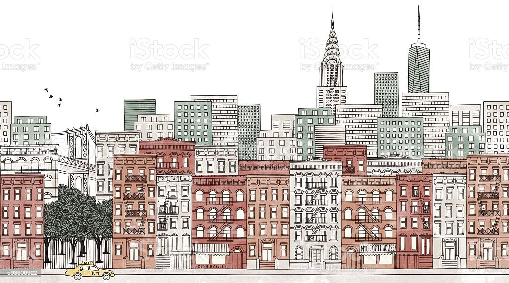 New York City - seamless banner of New York's skyline vector art illustration