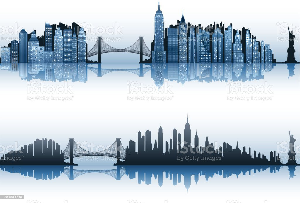 new york city set vector art illustration