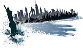 drawing of vector new york city silhouete.