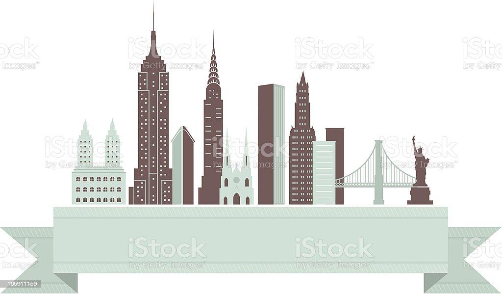 New York City Skyline Banner royalty-free stock vector art