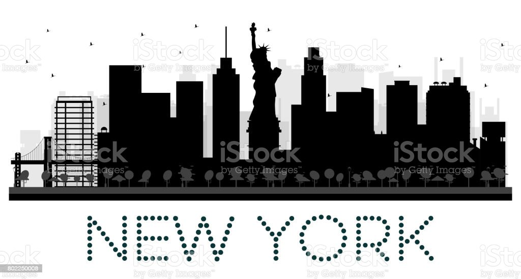 new york city skyline schwarzwei silhouette stock vektor art und mehr bilder von architektur. Black Bedroom Furniture Sets. Home Design Ideas