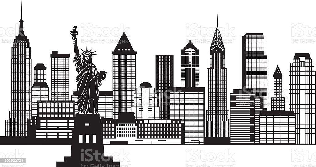 new york city skyline black and white vector illustration
