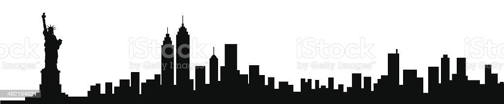 New York City Skyline Black Silhouette vector art illustration