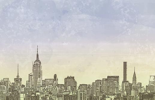 New York City Skyline Copy Space Grunge Watercolor Urban Background
