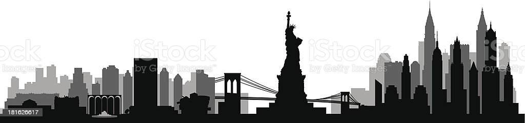 New York City skyline detailed silhouette vector art illustration