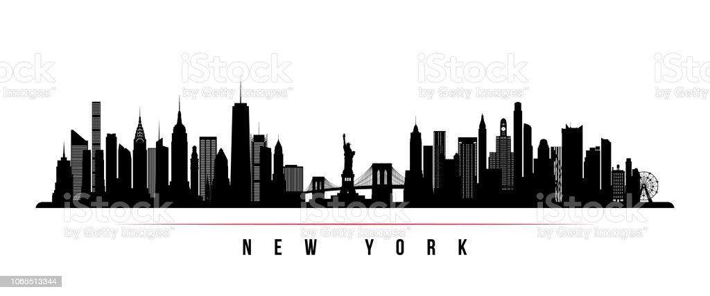 New York City Skyline Horisontell Banderoll Svart Och Vitt Silhuetten Av New York City Usa Vector Mall För Din Design Vektorgrafik Och Fler Bilder På