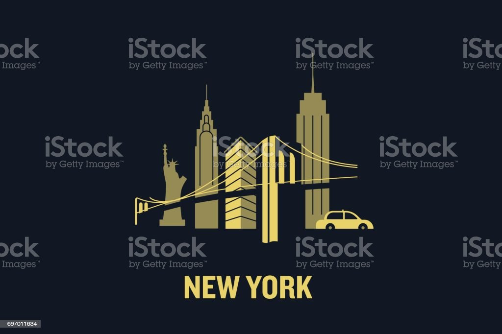 New York city skyline illustration. Flat vector design. vector art illustration
