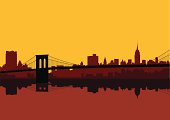 New York city skyline in shades of red against a yellow sky