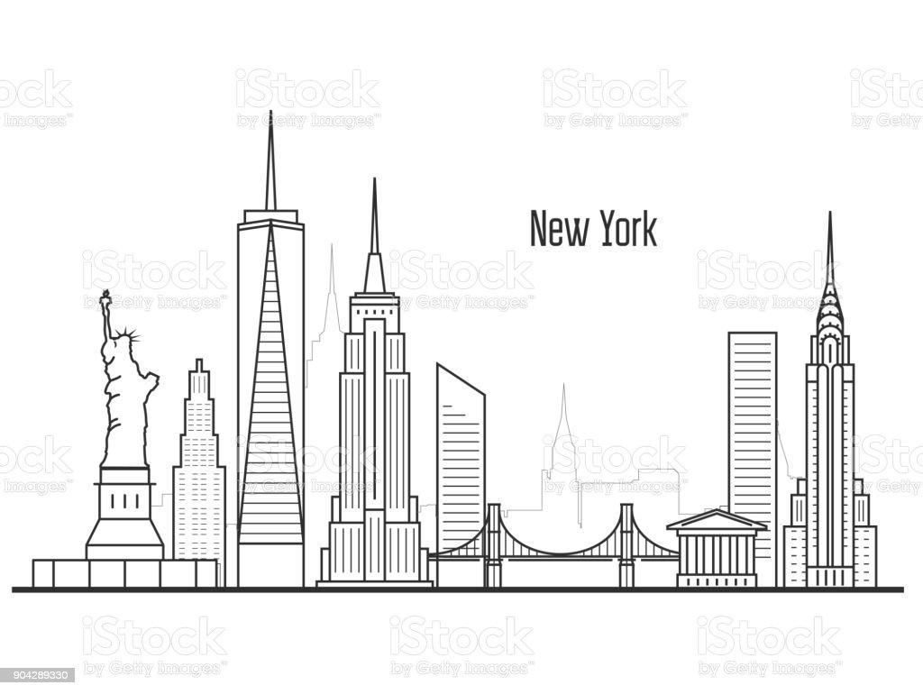 Skyline Von New York City Manhatten Stadtbild Türme Und ...