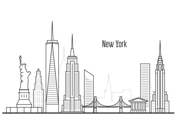 new york city skyline - manhatten cityscape, towers and landmarks in liner style - urban skyline stock illustrations