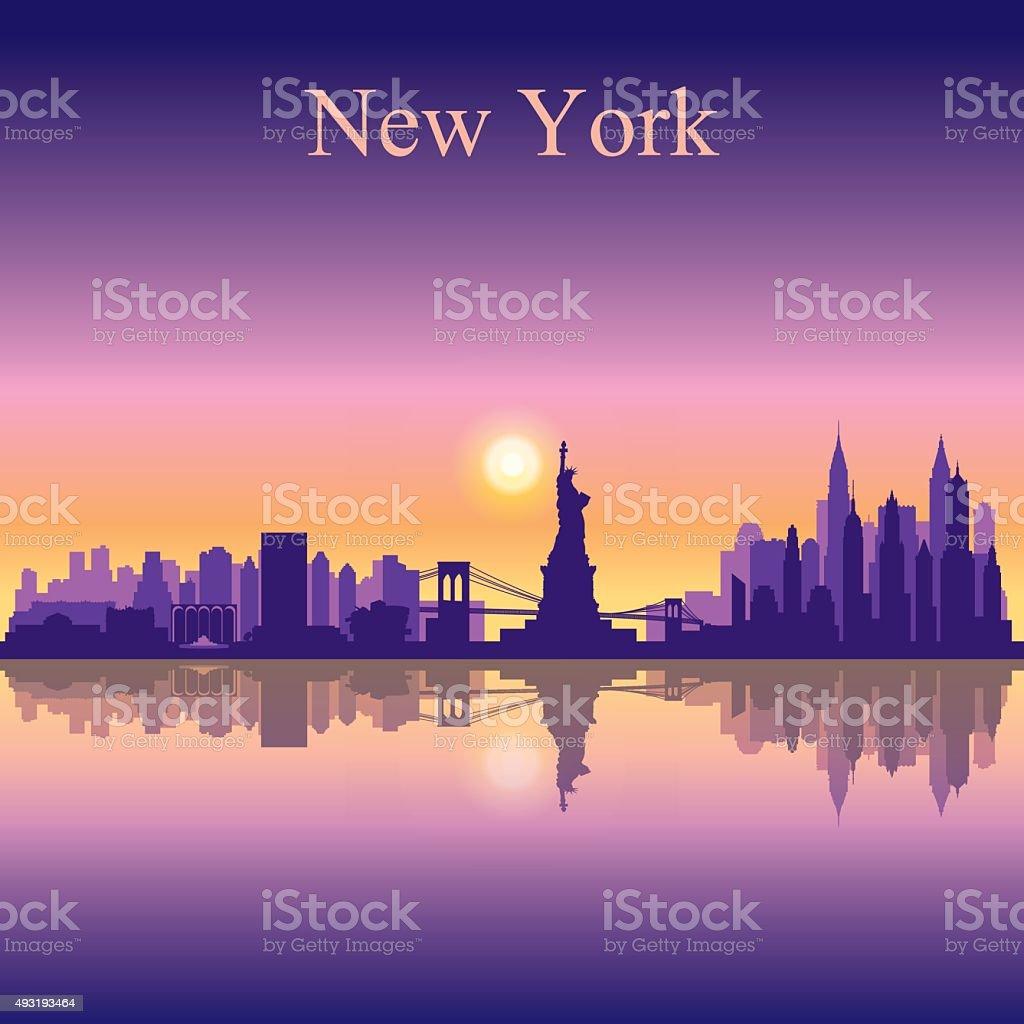 New York city skyline silhouette background vector art illustration
