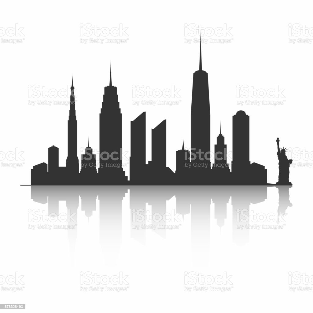 New York City skyline silhouette. Skyscrapers and Statue of Liberty vector art illustration