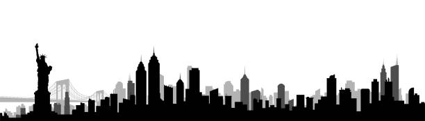 new york city skyline silhouette vector illustration - panorama stock-grafiken, -clipart, -cartoons und -symbole