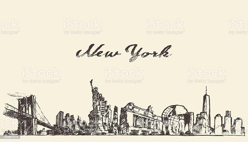 Ilustración de La Ciudad De Nueva York Skyline Las Marcas Diagrama ...