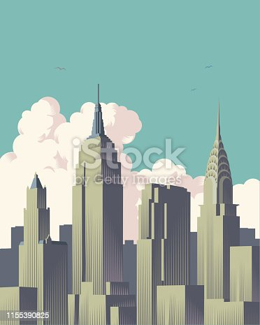 New York's famous skyline in Retro crosshatch style