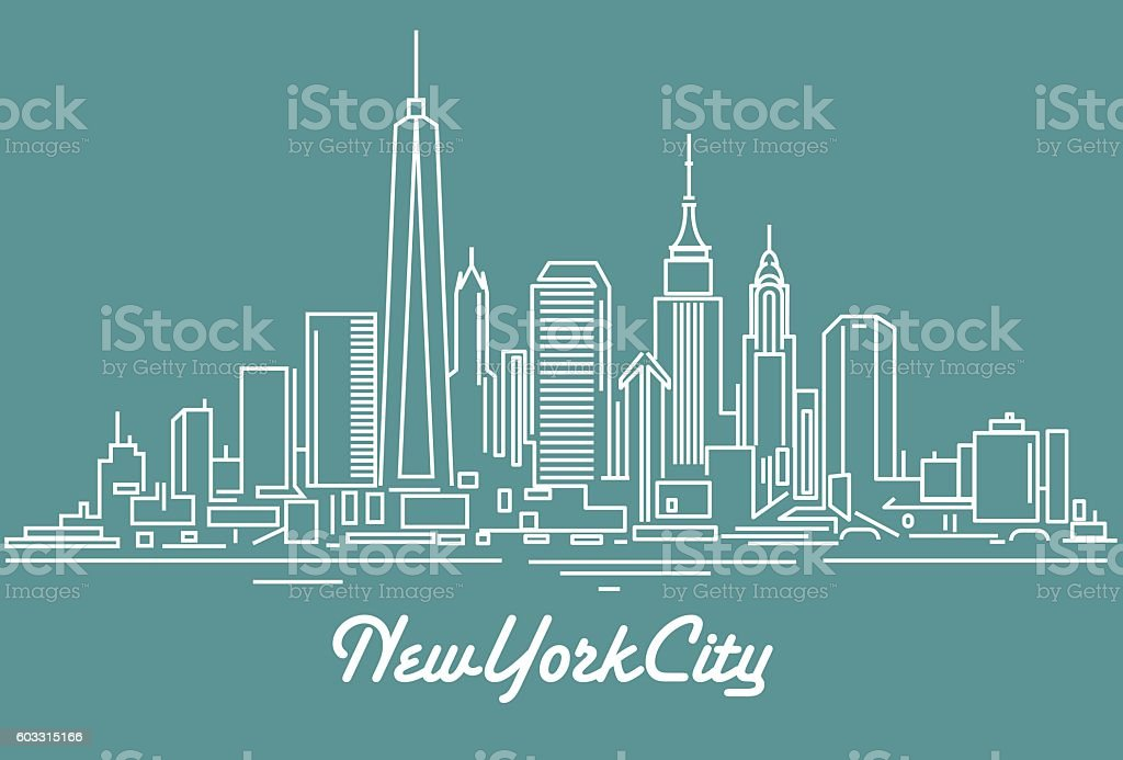 New York City skyline vector art illustration