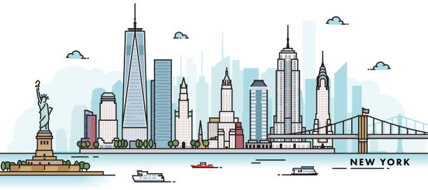 New York City Skyline New York city, USA illustration. Abstract illustration in a line art, iconographic style. waterfront stock illustrations