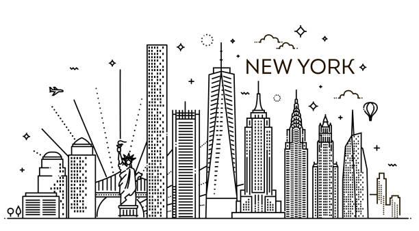 New York city skyline, vector illustration, flat design Linear banner of New York city. All buildings new york state stock illustrations